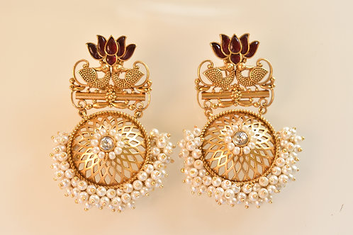 Charming  Golden Lotus  Earrings with beautiful Pearls