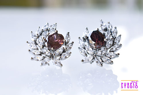 Antique Victorian Studs in White and Rodo CZ stones