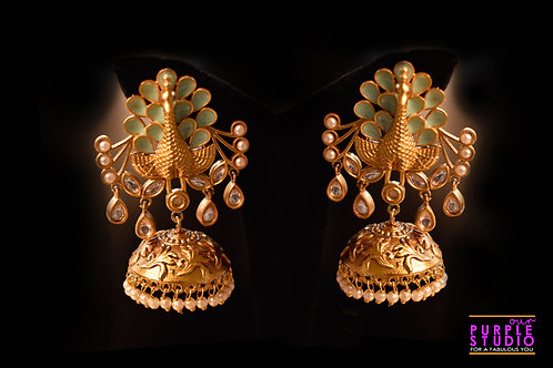 Exquisite Golden Peacock Jhumka in  Green Semi Precious Stone