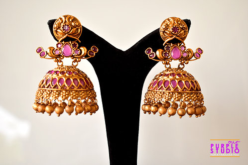 Antique Golden Temple Jhumka with Pink Stones