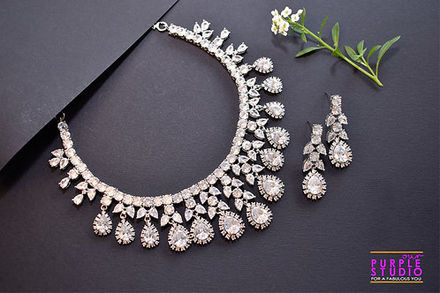 Enchanting Pure White CZ Setting Necklace Set