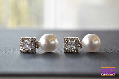 Sparkling CZ Stud with Pearl Drop