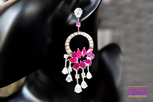 Fashionable Cocktail Earring in White and Pink Semi Precious Stone