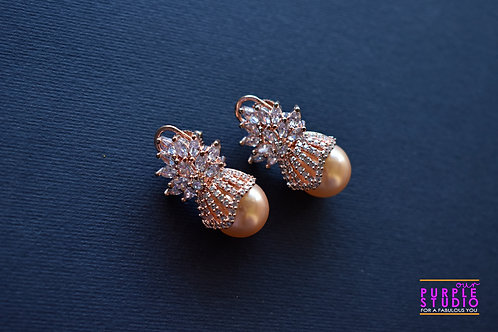Gorgeous CZ Earring with a  Golden Pearl Drop