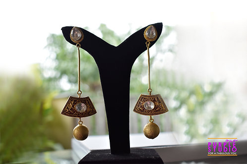 Designer Antique Earring with Kundan Studs