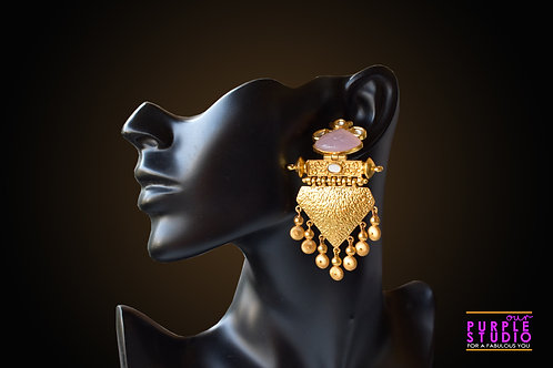 Exquisite Golden Ball Drop Earring in Pink