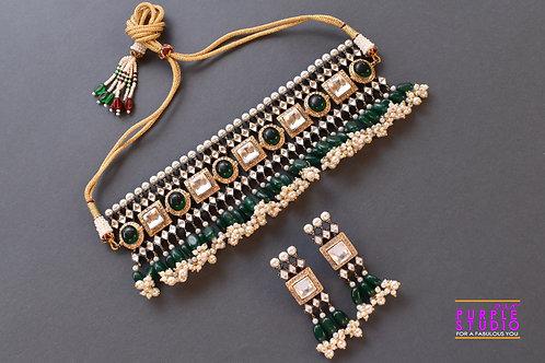 Gorgeous Kundan Choker Set In Pearl And Green Pota Stone Setting