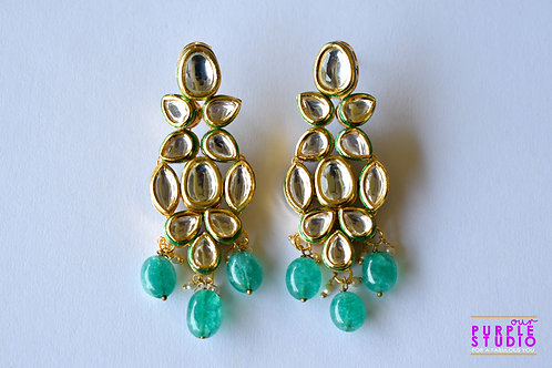 Princess Kundan Danglers with Green Beads
