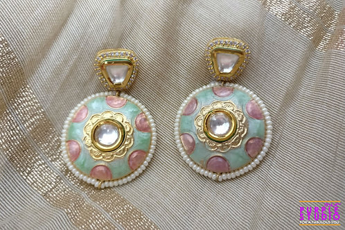 Light Green and Pink Pastel Colored Earring