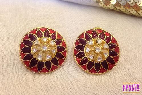 Bright Floral Kundan Earring