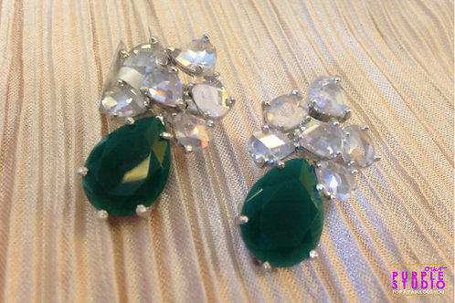 Emerald Tops with White CZ