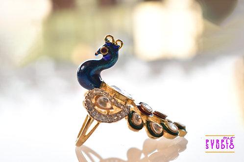 Beautiful Peacock Kundan Ring