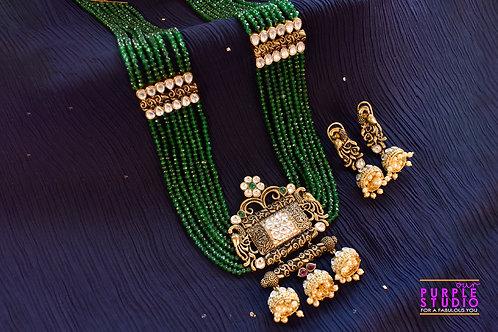 Royal  Long Green Beads and Kundan Necklace Set