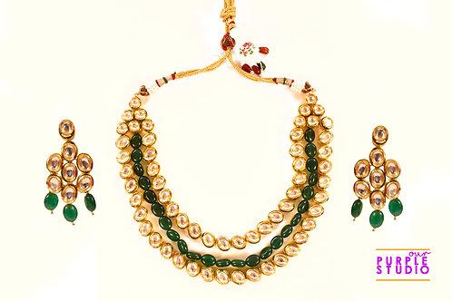 Gorgeous Green Kundan Necklace Set