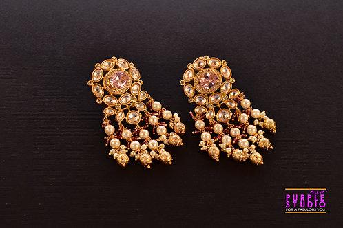 Exquisite Golden Kundan Earring with Pearl Shower