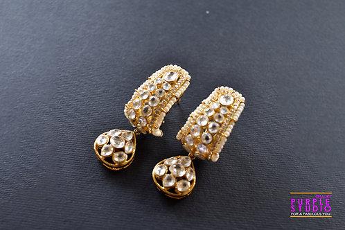 Golden Pearl and Kundan Half Hoop Earrings with Heart Drop