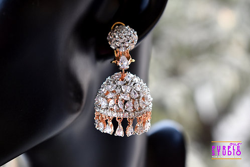 Mesmerizing Jhumkas in CZ with Orange Line