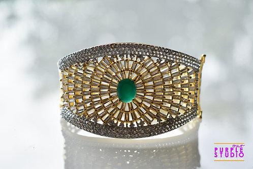 Elegant Dual Tone CZ Bracelet with Green  Stone