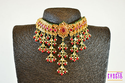 Gorgeous Polki and Kundan Choker Set In Ruby