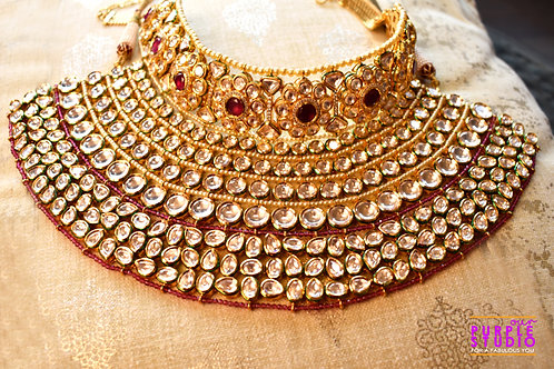 Mesmerizing  Kundan Bridal Set in Pink Semi Precious Stone