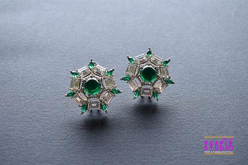 Gorgeous Korean Zirconias and Green Pota Stone Stud