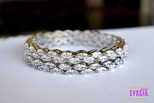 Sophisticated Pair of  white  AD Bangles