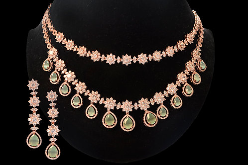 Sophisticated  Necklace Set with White and light Green CZ Stones