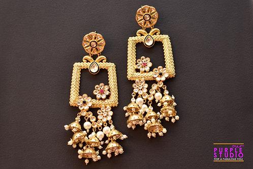 Ravishing Golden Pearl Kundan Danglers