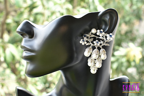 Silver Flower Earring with bunch of Pearl Drops