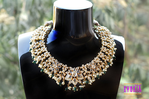 Bridal Green Polki Necklace Set