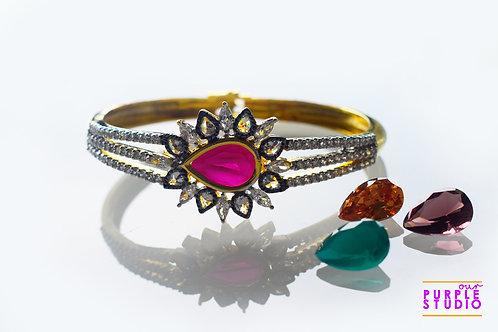 Designer Antique Bracelet in Multi Changeable Stone
