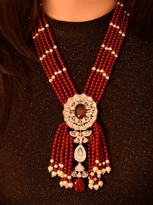 Stunning Indo Western Red  Necklace with a gorgeous Silver Brooch