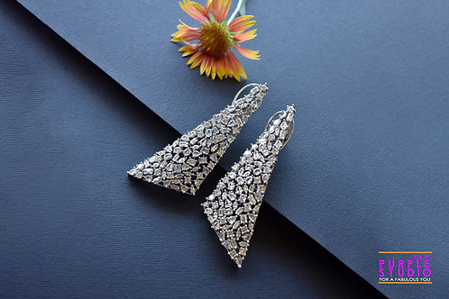 Stunning Party Wear triangle shaped AD Danglers