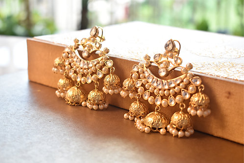 Gorgeous Kundan Danglers with Multiple Jhumkas