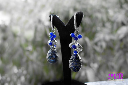 Flattering Blue Cocktail Party Wear Earring with Luxury Ball Drop