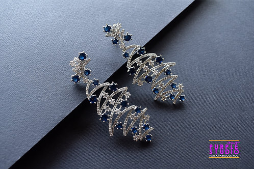 Beautiful Asymmetrical  AD Earring with Blue color stones