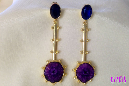 Sparkling long Earrings with Amethyst Stone