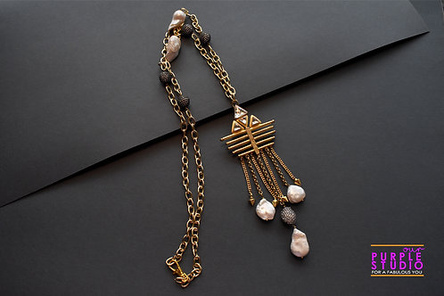 Gorgeous Indo Western Baroque Pearl Pendant in a rich necklace