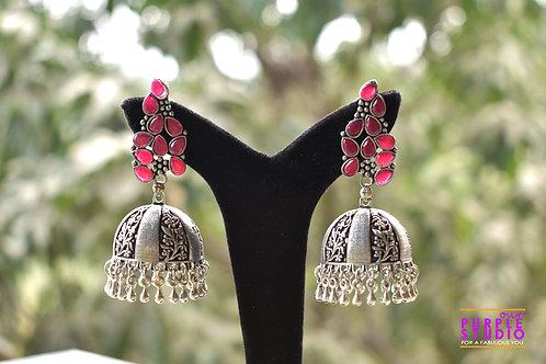 Pink Silver tone  Jhumka