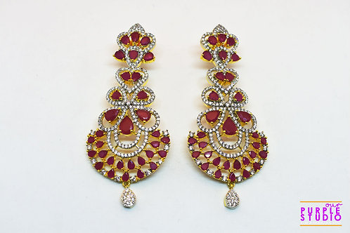 Sparkling Chandelier Danglers in Ruby and White Stone