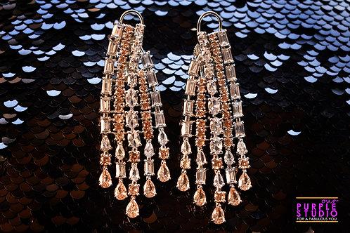 Graceful Chandelier Earrings in Rich CZ Stones