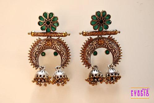 Mesmerizing Dual Tone Half Chandbali with Green Beads