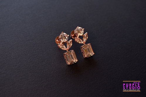 Smart CZ Floral Earring with petals in Rose Gold Finish