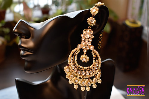 Gorgeous Golden Kundan Chandbali in Pearl with Kanauti