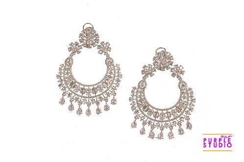 Stunning Chandbali in white CZ stones