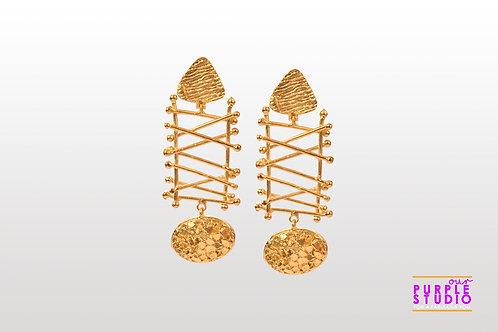 Smart Unconventional Golden Danglers with Criss Cross Design