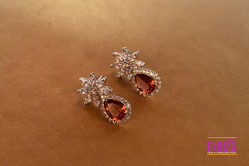 Sparkling Princess Cut Earring in Rust Onyx Stone