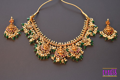 Gorgeous  Golden Temple Necklace Set with White and Green Beads