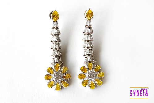 Sleek Danglers with Yellow CZ flower