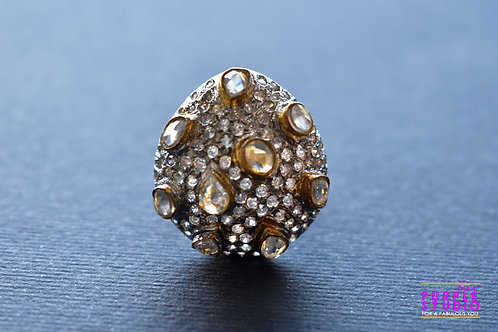 Adjustable Fusion Kundan Ring